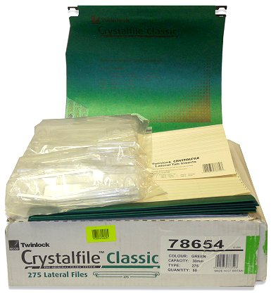 50 x Rexel Crystalfile Classic Green 30mm Capacity Type 275 Suspension